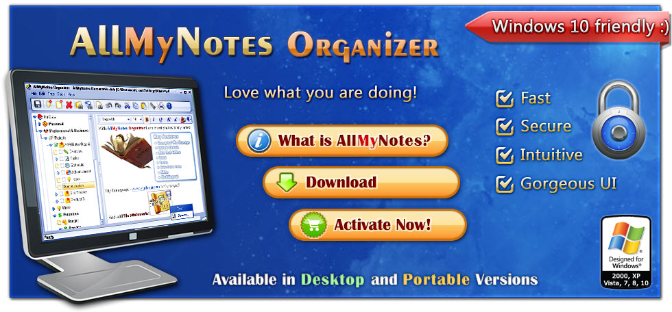 Featured - AllMyNotes for Windows. Available in Deluxe and Free editions :)
