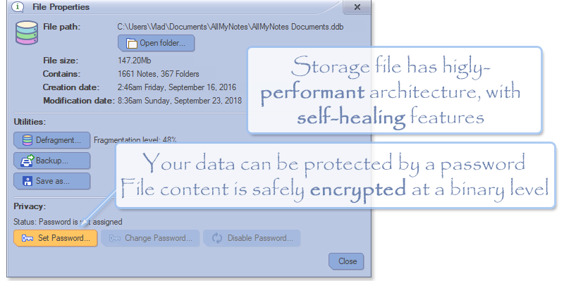 Keep your documents in well encrypted and blazing fast storage file - (All-My-Notes Organizer Screenshot)